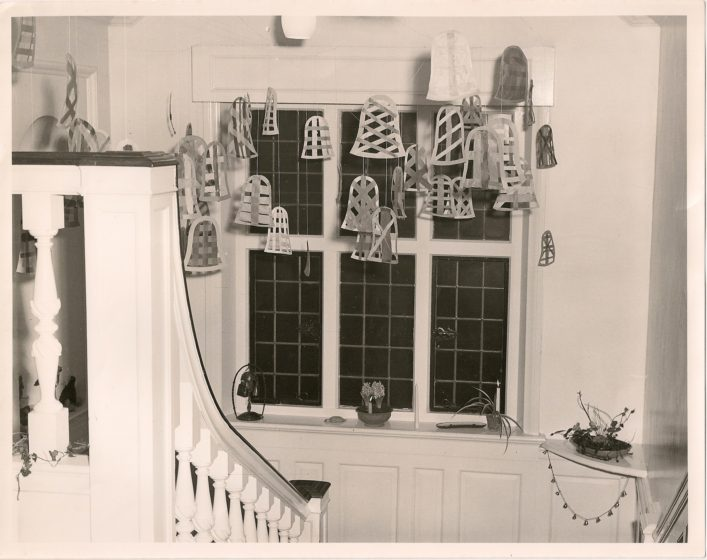 Christmas decorations over the stair case 1970s