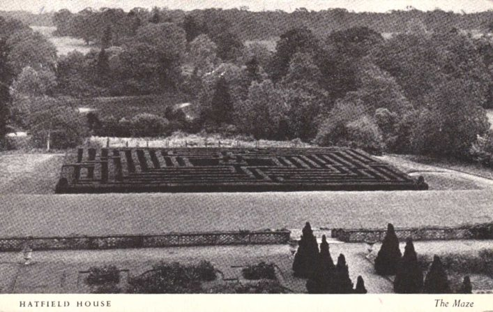 The Maze occupies the lowest terrace on the east side of Hatfield House and may be seen from King James's Drawing Room.