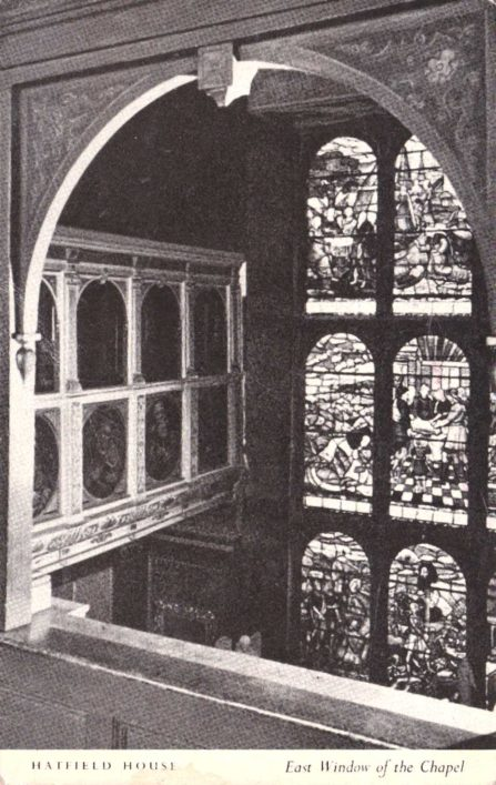 The beautiful East window of the Chapel is of early 17th century glass and was put up by the 1st Earl of Salisbury when Hatfield House was built.