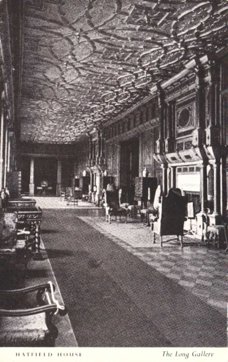 The Long Gallery has remained unaltered since it was built at the beginning of the 17th century though the ceiling was gilded at a later date. Among the many treasures which it contains is a contemporary pedigree of Queen Elizabeth tracing her ancestry back to Adam.