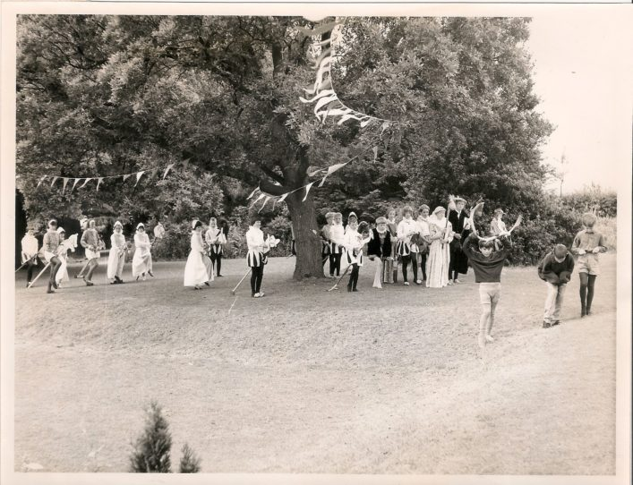 Tudor re-enactment pageant in the school grounds,1970s