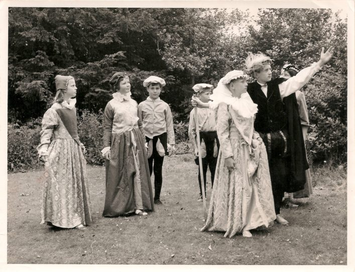 Tudor re-enactment pageant in the school grounds, 1970s.
