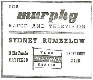 The 1955 advert reveals that a move had been made from the original premises on The Parade to the corner premises at 10 The Parade providing much more space to display the electrical goods, especially radios and televisions produced by his former employers, Murphy Radio | Brian Lawrence
