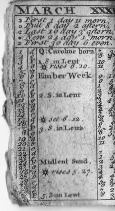 A 1734 Almanac Found in the Eight Bells Public House