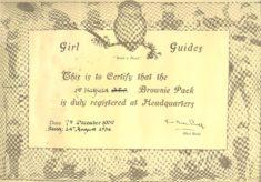 1st Hatfield Brownie Pack Certificate