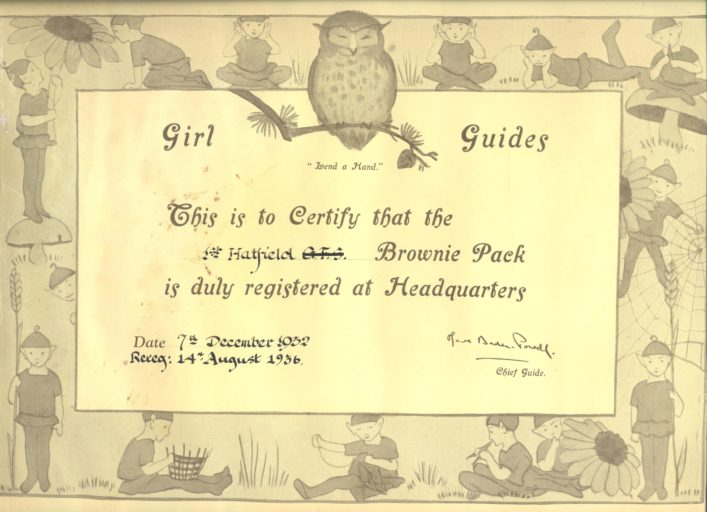 First registered 1932 as Girls Friendly Society re-registered 1936 | Hatfield District Guides