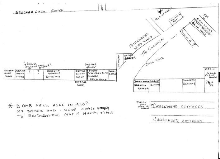 Bomb dropped on Allotments shown on  top  right hand corner of sketch map | Irene Chapman nee Phillips