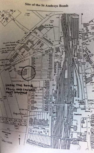 Map showing bomb site | Hatfield at War, Brian G Lawrence