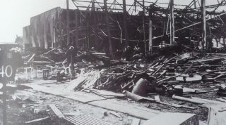 De Havilland Shop 94 after the bomb hit