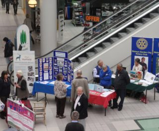 Stalls in the atrium at The Howard Centre | Christine Martindale