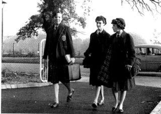 Girls arriving at school (1960) | Hatftield Library