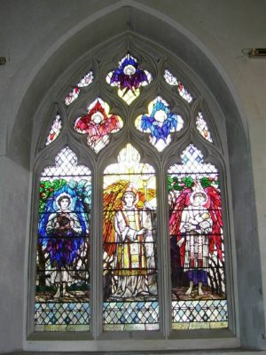 The stained glass window on the north wall near the porch was presented by James, 4th Marquess of Salisbury in memory of his three nephews (the sons of Lord William Cecil ) all killed in the First World War. it was designed by Christopher Whall (1850 -1924) and depicts three angel figures set against the Briars of Life and the Sun of Righteousness