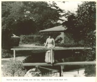 Beatrix Potter aged 18 years stood on the bridge over the River Lea where it flows near Bush hall in 1884 | Supplied courtesy of the V&A (c) Frederick Warne & Co., 2010