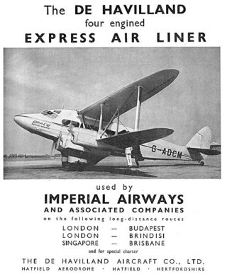 1935 Advert - de Havilland DH 86 Express Air Liner | Aviation Ancestry