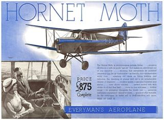 1935 Advert - de Havilland DH 87 Hornet Moth light biplane | Aviation Ancestry
