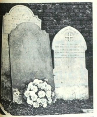 Three of the gravestones which have been removed to a new corner of the little graveyard, to mark the resting place of those Hatfield people who have had to be re-intered. | Welwyn Times and Hatfield Herald 17 December 1965, page 27