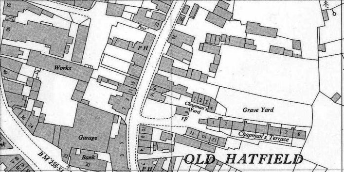 OS Map TL 2308 dated 1962, 25 inches to 1 mile in more detail of Graveyard and Chapmans Yard | Hertfordshire Archives and Local Studies