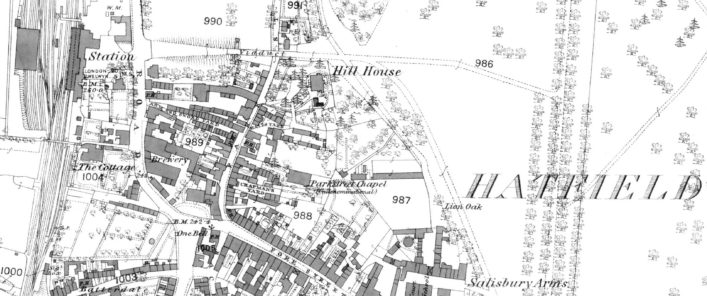 1st edition OS Map dated 1878, ref. XXXV.7, 25 inches to 1 mile Park Street Chapel and Chapmans Yard are marked | Hertfordshire Archives and Local Studies