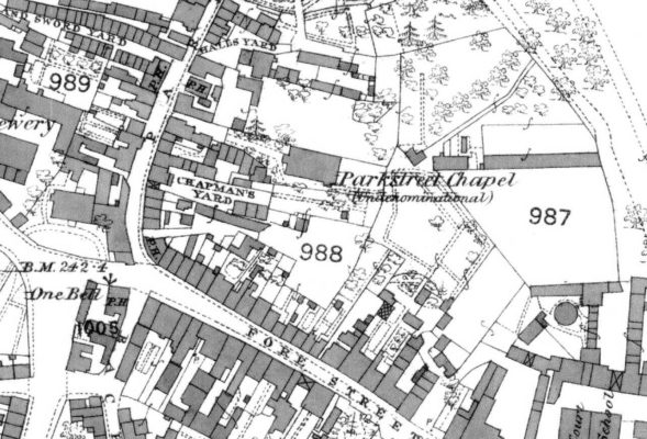 1st edition OS Map dated 1878, ref. XXXV.7, 25 inches to 1 mile in more detail of Park Street Chapel and Chapmans Yard | Hertfordshire Archives and Local Studies