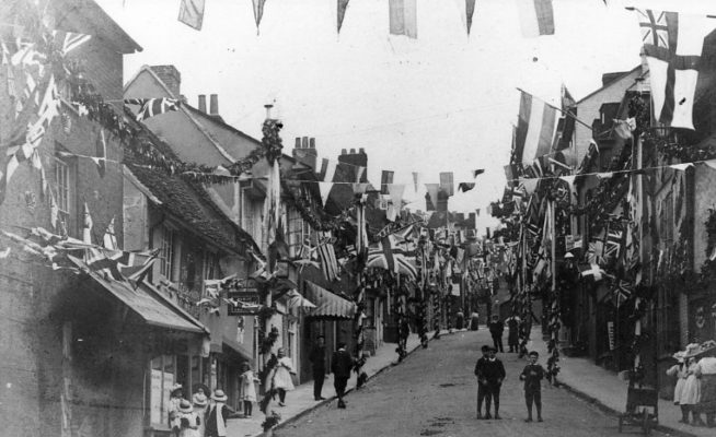 Street decorations in Fore Street for the King's coronation | Hertfordshire Archives and Local Studies