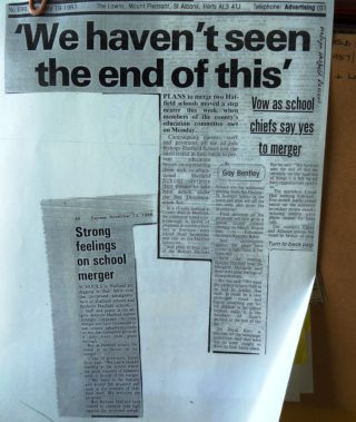 1988 press cutting when a merger with Hatfield School was proposed. | Hatfield Library
