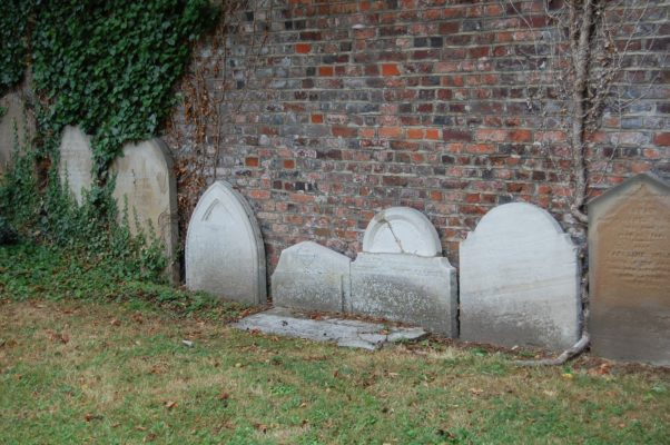Gravestones as they are now at the back of Park Close, Hatfield | Susan Hall, 29 July 2013