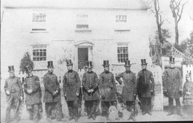 Taken outside the Police Station, Goldings, French Horn Lane (c.1880). [see