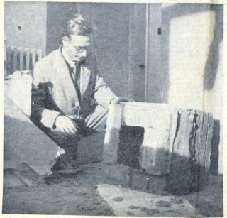 Mr Robert Male of The Wades, found this chimney piece inches from his daughters cot | Herts Advertiser, 8 Novemebr 1957 page 3