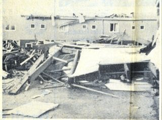 This picture reveals the incredible damage after the storm | Herts Advertiser, 8 November 1957 page 3