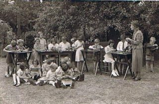 Goldings School - Miss Norman with pupils in 1953.
