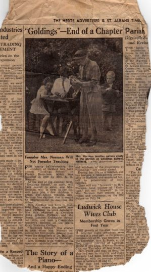 Goldings School - Miss Norman with pupils in 1953. | John Richards family kept this newspaper cutting from 1953. John Richards is the boy wearing a jacket sat next to Miss Norman.