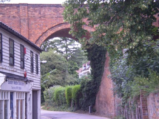 3) Turn left along the roadway - Arm and Sword Lane - and walk down to the bottom of the car park from here you can see the viaduct built to enable Lord Salisbury to access the Railway station. | Jean Cross