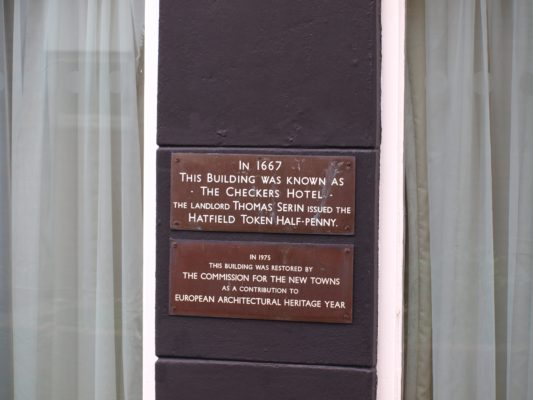 Board detailing the Chequers Hotel  information | Jean Cross