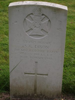 5381513 Private S. G. Dixon Buckinghamshire Battalion Oxf & Bucks Light Infantry 16 January 1941 | Jean Cross