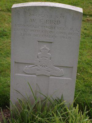 2047523 L. SJT. W.F.Bird 33rd Searchlight Regiment RA lately 19th Co of London Regiment. 22 December 1940 | Jean Cross