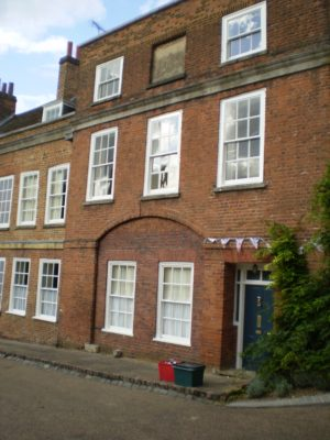 The Old Salisbury Arms showing the blocked up windows  victims of the