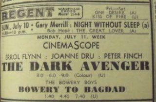 Advert for The Dark Avenger