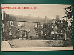 The Gatehouse Entrance to Hatfield House | James Cox, Stationer, Hatfield postcard