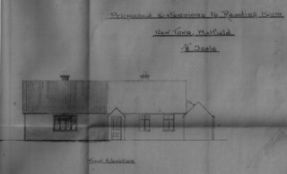Drawing (dark area) showing the proposed extention | Hatfield House Estate Office plans c/140