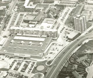Aerial photo of the store.  Queensway House and Hatfield Library are to the right. | Mill Green Museum & Mill